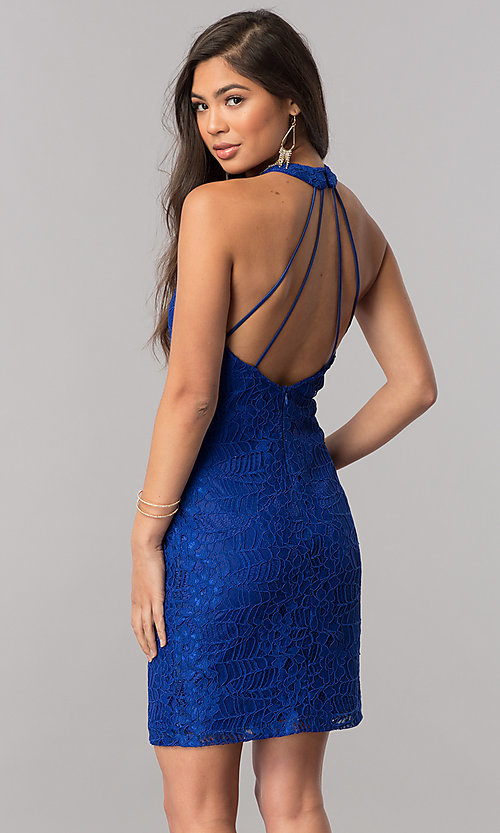 Image of short royal blue lace homecoming dress with high neck. Style: MCR-2434 Back Image