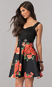 Short Black Satin Party Dress with Print Skirt