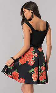 Image of short black satin party dress with print skirt. Style: MCR-2431 Back Image