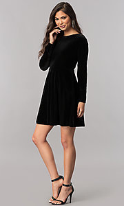 Image of velvet short homecoming dress with long sleeves. Style: MCR-2429 Detail Image 3