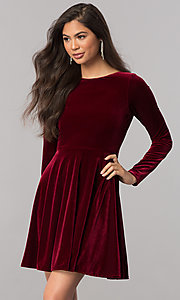 Image of velvet short homecoming dress with long sleeves. Style: MCR-2429 Front Image