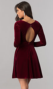Image of velvet short homecoming dress with long sleeves. Style: MCR-2429 Back Image