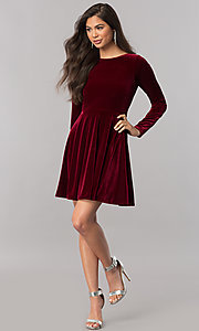 Image of velvet short homecoming dress with long sleeves. Style: MCR-2429 Detail Image 1