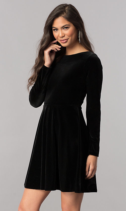 Image of velvet short homecoming dress with long sleeves. Style: MCR-2429 Detail Image 2
