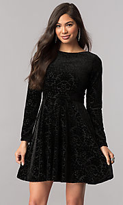 Sleeved Short Velvet Homecoming Dress with Cut Out