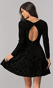 Image of sleeved short velvet homecoming dress with cut out. Style: MCR-2438 Back Image
