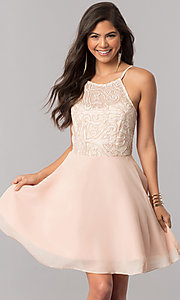 Image of embroidered-bodice short chiffon homecoming dress. Style: MCR-2427 Front Image