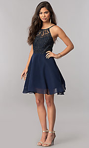 Image of embroidered-bodice short chiffon homecoming dress. Style: MCR-2427 Detail Image 1