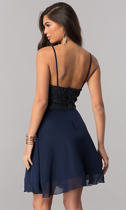 Image of embroidered-bodice short chiffon homecoming dress. Style: MCR-2427 Back Image