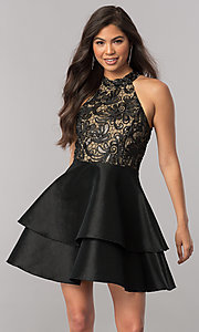 Image of short satin homecoming dress with sequined bodice. Style: MCR-2426 Detail Image 1