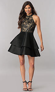 Image of short satin homecoming dress with sequined bodice. Style: MCR-2426 Detail Image 2