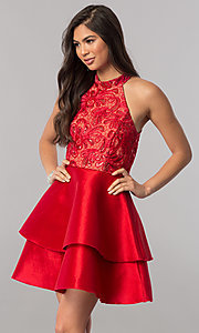Image of short satin homecoming dress with sequined bodice. Style: MCR-2426 Detail Image 3