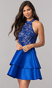 Image of short satin homecoming dress with sequined bodice. Style: MCR-2426 Front Image