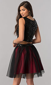 Image of short two-piece homecoming dress with sequin top. Style: MCR-2424 Back Image