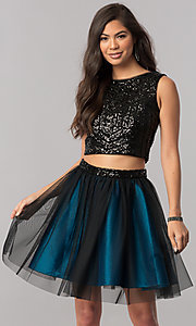 Image of short two-piece homecoming dress with sequin top. Style: MCR-2424 Front Image