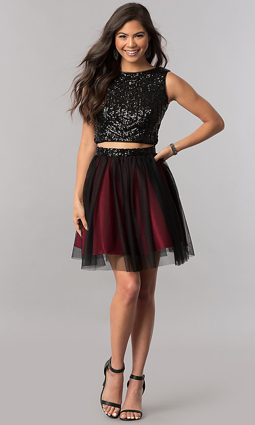 Image of short two-piece homecoming dress with sequin top. Style: MCR-2424 Detail Image 1