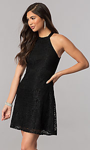 Short Lace Homecoming Dress with Back Keyhole Detail