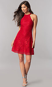 Image of short lace homecoming dress with back keyhole detail. Style: MCR-2428 Detail Image 3