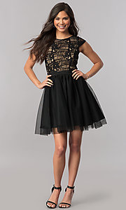 Image of cap-sleeve short black party dress in lace and tulle. Style: MCR-2423 Detail Image 1
