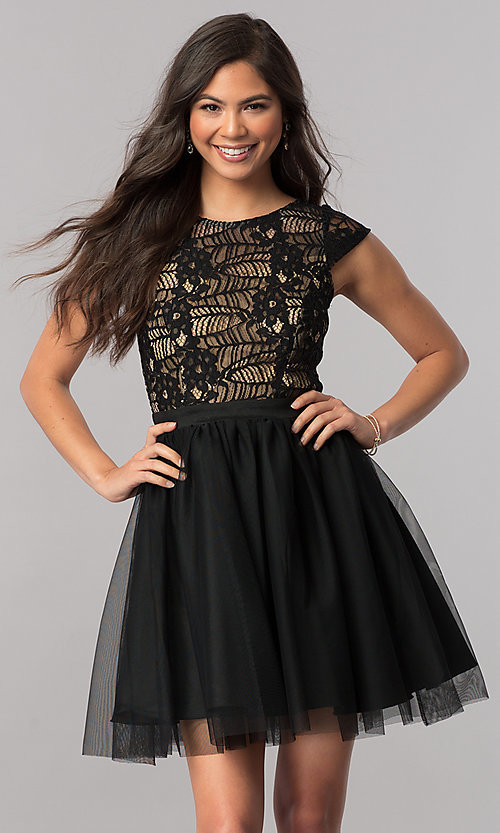 Image of cap-sleeve short black party dress in lace and tulle. Style: MCR-2423 Front Image