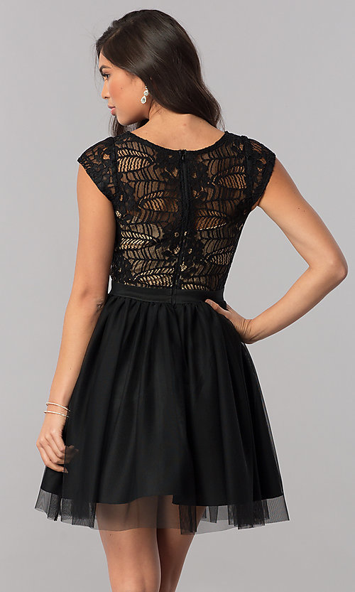 Image of cap-sleeve short black party dress in lace and tulle. Style: MCR-2423 Back Image