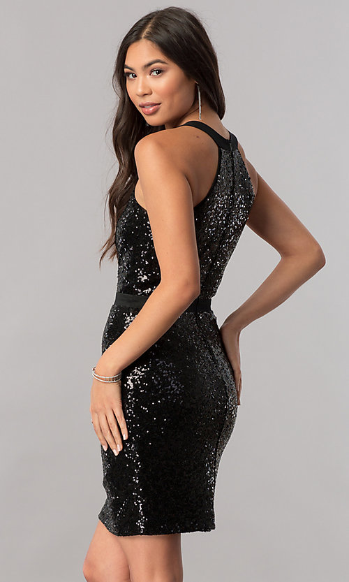 Image of short sequin homecoming dress with illusion inset. Style: MCR-2422 Back Image