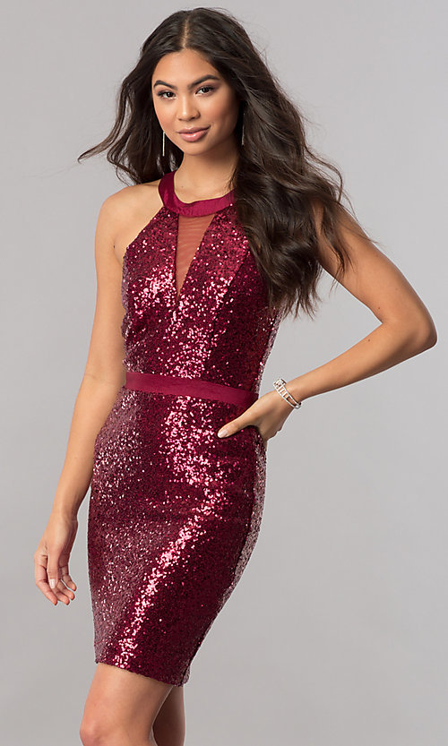 Image of short sequin homecoming dress with illusion inset. Style: MCR-2422 Front Image