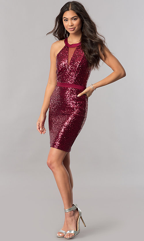 Image of short sequin homecoming dress with illusion inset. Style: MCR-2422 Detail Image 1