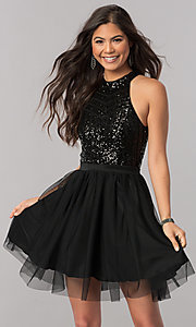 Image of high-neck short homecoming dress with sequin bodice. Style: MCR-2421 Detail Image 2