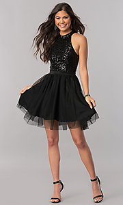 Image of high-neck short homecoming dress with sequin bodice. Style: MCR-2421 Detail Image 3