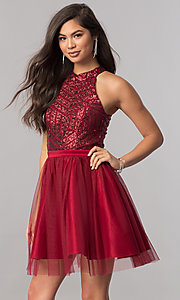 High-Neck Short Homecoming Dress with Sequin Bodice