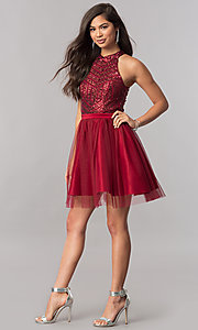 Image of high-neck short homecoming dress with sequin bodice. Style: MCR-2421 Detail Image 1