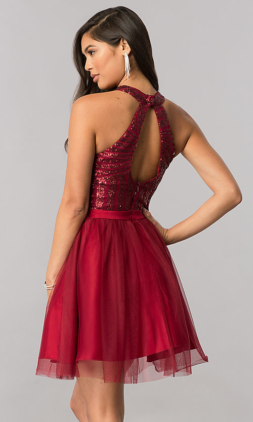 Image of high-neck short homecoming dress with sequin bodice. Style: MCR-2421 Back Image