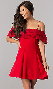 Image of homecoming dress with off-the-shoulder lace ruffle. Style: MCR-2420 Detail Image 1