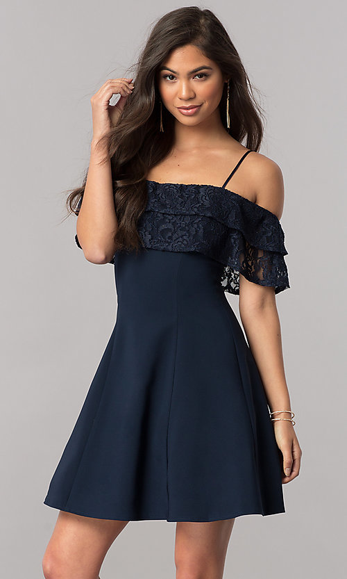 Image of homecoming dress with off-the-shoulder lace ruffle. Style: MCR-2420 Front Image