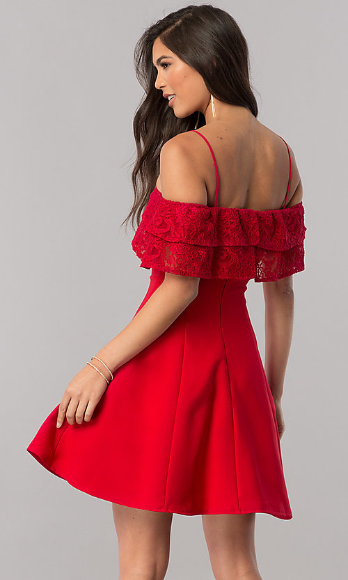 Image of homecoming dress with off-the-shoulder lace ruffle. Style: MCR-2420 Back Image