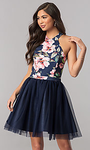 Image of short navy blue homecoming dress with floral bodice. Style: MCR-2437 Front Image