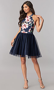 Image of short navy blue homecoming dress with floral bodice. Style: MCR-2437 Detail Image 1