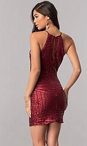 Image of sequin-print short homecoming dress with back keyhole. Style: MCR-1953 Back Image