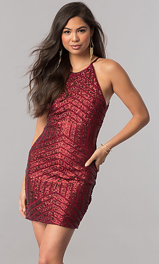Sequin-Print Short Homecoming Dress with Back Keyhole