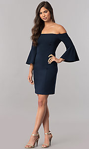 Image of off-the-shoulder homecoming dress with 3/4 sleeves. Style: MCR-2439 Detail Image 3
