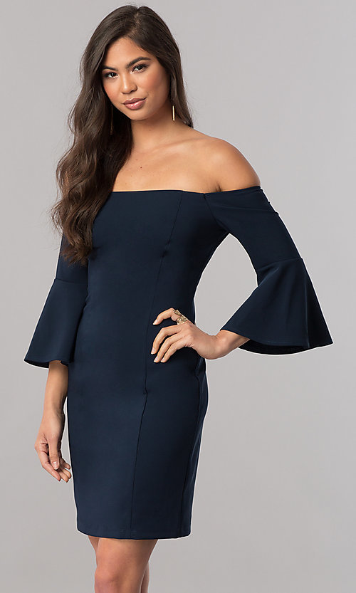 Image of off-the-shoulder homecoming dress with 3/4 sleeves. Style: MCR-2439 Front Image