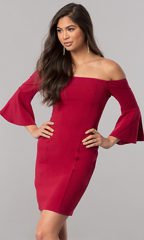 Image of off-the-shoulder homecoming dress with 3/4 sleeves. Style: MCR-2439 Detail Image 1