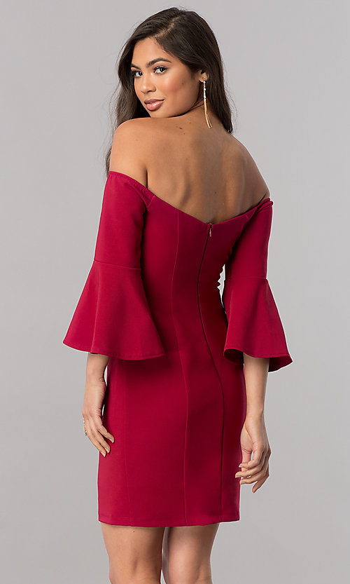 Image of off-the-shoulder homecoming dress with 3/4 sleeves. Style: MCR-2439 Back Image
