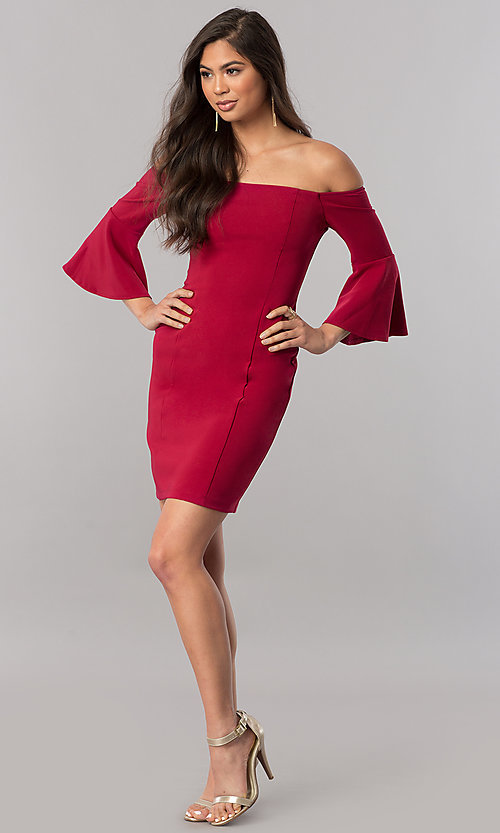 Image of off-the-shoulder homecoming dress with 3/4 sleeves. Style: MCR-2439 Detail Image 2