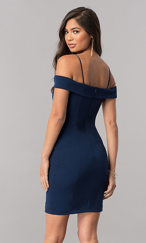 Image of short off-the-shoulder homecoming dress with straps. Style: MCR-2132 Back Image