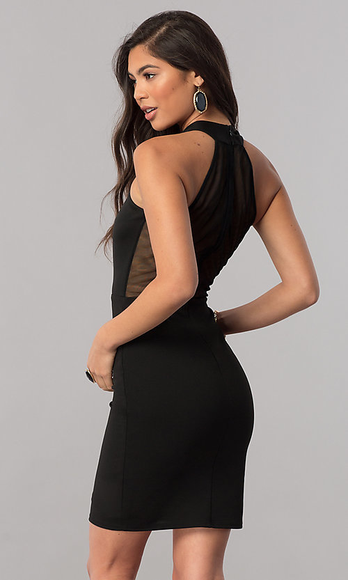 Image of short high-neck homecoming dress with racerback. Style: MCR-1452 Back Image
