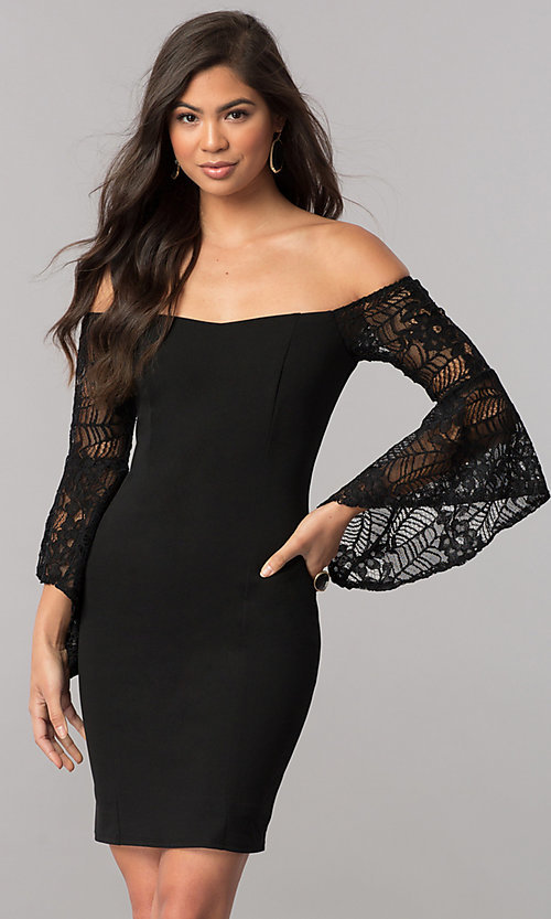 Image of black off-the-shoulder party dress with lace sleeves. Style: MCR-2330S Front Image