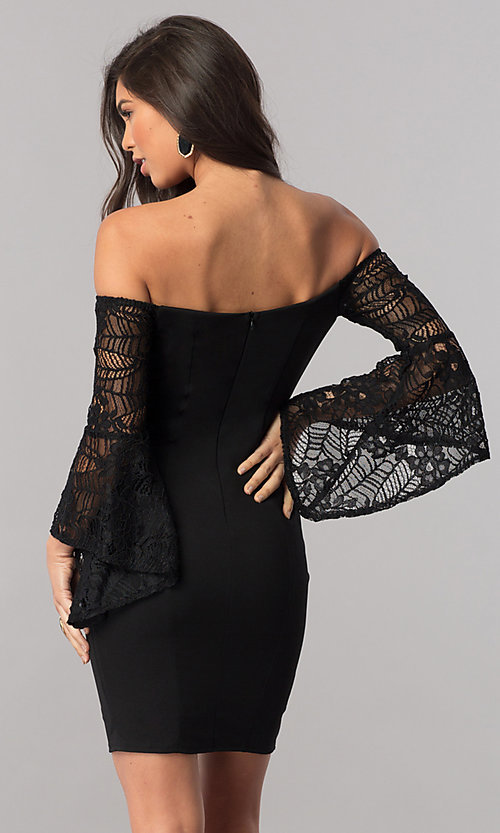 Image of black off-the-shoulder party dress with lace sleeves. Style: MCR-2330S Back Image