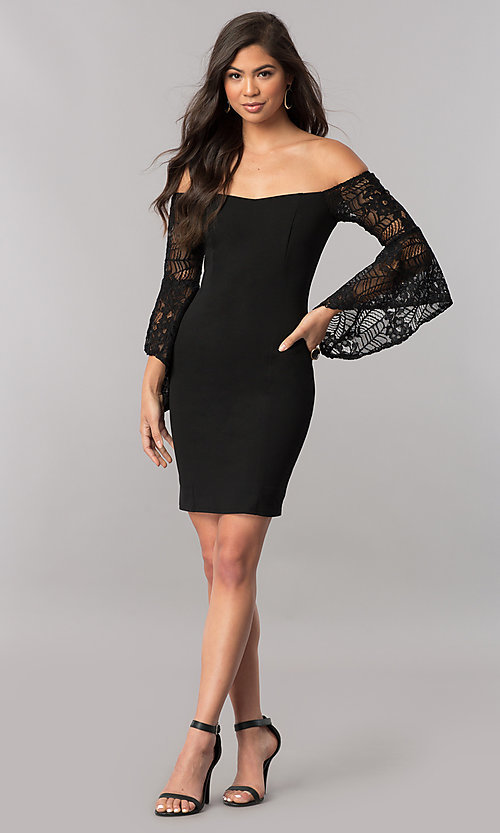 Image of black off-the-shoulder party dress with lace sleeves. Style: MCR-2330S Detail Image 1